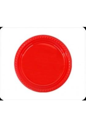 Dekorsende Plastik Tabak Kırmızı 22 Cm 25 Li