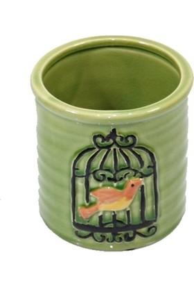Dekorsende Kuş Motifli Vazo Yeşil