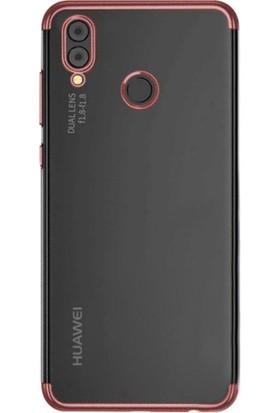 Kılıfshop Huawei P20 Lite Kılıf Silikon Dört Köşeli Lazer Kapak (RoseGold) + Nano Cam Ekran Koruyucu