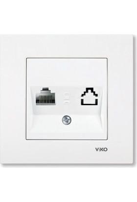Viko Beyaz Tekli Data Prizi Cat6 Çerçeveli