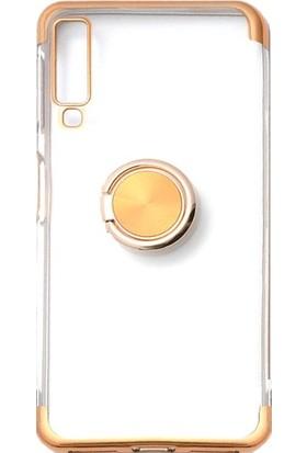Jopus Samsung Galaxy A9 2018 Kılıf 4 Köşe Renkli Yüzüklü Gess Silikon - Gold + Nano Ekran Koruyucu
