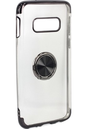 Jopus Samsung Galaxy S10E Kılıf 4 Köşe Renkli Yüzüklü Gess Silikon - Siyah + Full Body Ekran Koruyucu