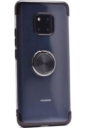 Jopus Huawei Mate 20 Pro Kılıf 4 Köşe Renkli Yüzüklü Gess Silikon - Siyah + 5D Nano Ekran Koruyucu