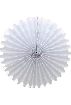 Party Marty Beyaz Kağıt Çark Süs 30cm