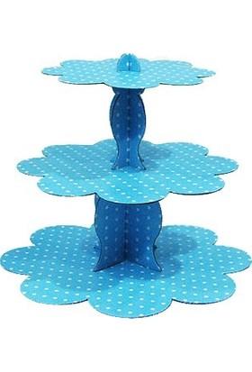 Party Marty 3 Katlı Mavi Puantiyelli Karton Cupkake Kek Standı