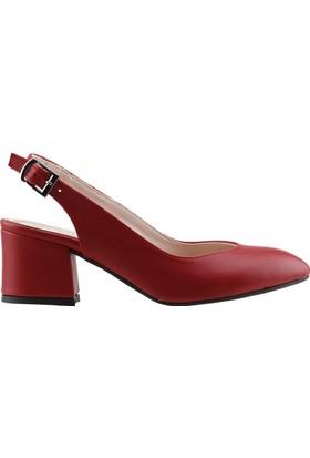 31129c7ff9447 Ayakland 544-307 Günlük Babet 5 Cm Topuk Kadın Cilt Sandalet Ayakkabı  Kırmızı ...