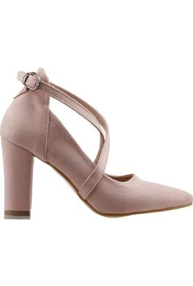 242093cdeec3c Ayakland 137029-1122 Kemerli 7 Cm Topuk Kadın Lüx Süet Sandalet Ayakkabı  Pudra ...