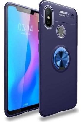 Happyshop Samsung Galaxy M20 Kılıf Yüzüklü Standlı Manyetik Ravel Silikon+Cam Ekran Koruyucu
