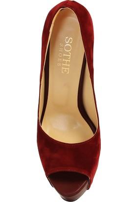 Sothe BA-1036 Kadın Bordo Platform Topuklu Ayakkabı