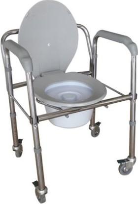 Asisty İthal Tuvaletli Tekerlekli Katlanabilir Hasta Sandalyesi(3 Fonksiyonlu)