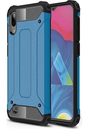 KNY Samsung Galaxy A10 Kılıf Çift Katmanlı Armour Case + Cam Ekran Koruyucu