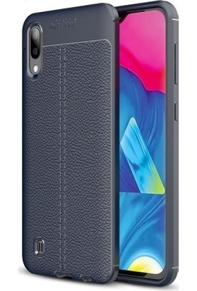 KNY Samsung Galaxy A10 Kılıf Deri Desenli Lux Niss Silikon + Cam Ekran Koruyucu