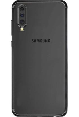 KNY Samsung Galaxy A50 Kılıf 4 Köşe Renkli Şeffaf Laser Silikon + Cam Ekran Koruyucu