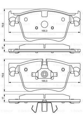 Bosch Disk Balata Ön WVA 25833 1553X706X170 mm Peugeot 308 II Citroen C