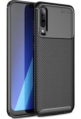 Case 4U Samsung Galaxy A70 Kılıf Karbon Desenli Sert Silikon Arka Kapak - Negro Siyah