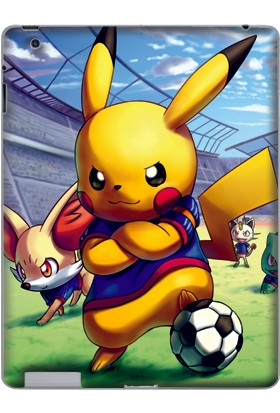 GoGo Apple iPad 2/3/4 (A1219 A1395 A1416 A1460) Futbolcu Pikachu Baskılı Silikon Kılıf