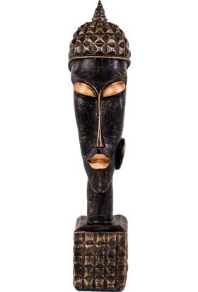 Euro Flora Afrikalı Erkek Biblo (Bronz Rengi) 10X48 Cm