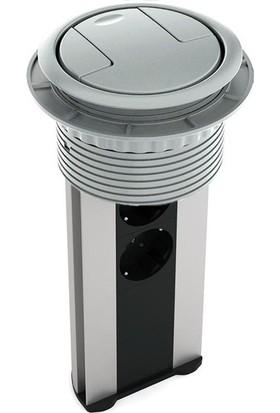 Ksi Design 6 Modüllü Bas Aç Priz Kutusu, C106S Eloksal - Gri