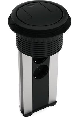 Ksi Design 6 Modüllü Bas Aç Priz Kutusu, C106S Eloksal - Siyah