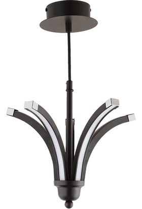 Ünal Aydınlatma Umay-1 Metal Yaş Boyalı Krom Kaplama Detaylı Ledli Sarkıt