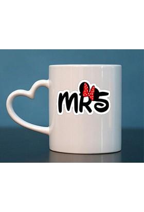 Başak Su Hediye Dükkanı Mini MRS İsimli Kalp Kulp Beyaz Kupa Bardak