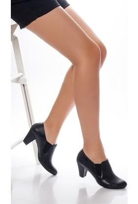 Tarçın Hakiki Deri Klasik Siyah Günlük Kadın Topuklu Ayakkabı Trc64-1074