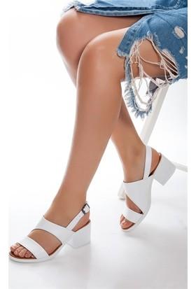 Tarçın Hakiki Deri Beyaz Günlük Kadın Topuklu Sandalet Ayakkabı Trc66-0803
