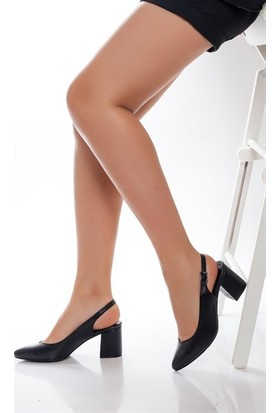 Tarçın Hakiki Deri Klasik Siyah Günlük Kadın Topuklu Ayakkabı Trc71-0028