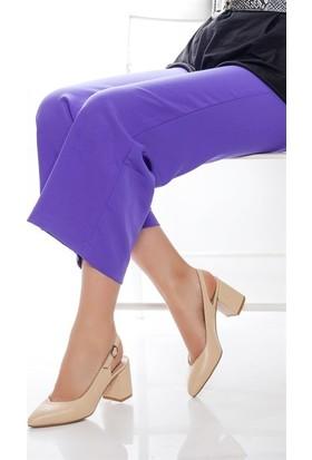 Tarçın Hakiki Deri Klasik Bej Günlük Kadın Topuklu Ayakkabı Trc71-0028
