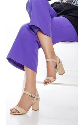 Tarçın Hakiki Deri Klasik Bej Günlük Kadın Topuklu Ayakkabı Trc71-0032