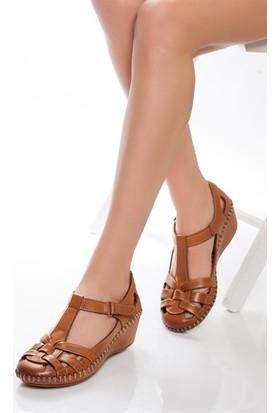 Tarçın Hakiki Deri Taba Comfort Günlük Kadın Sandalet Ayakkabı Trc75-0926