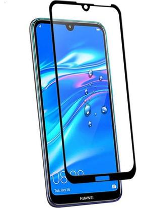Case 4U Huawei Y7 2019 5D Kavisli Temperli Cam Ekran Koruyucu Film Siyah