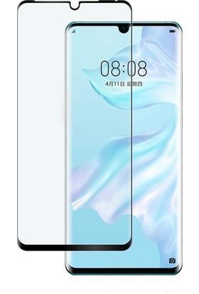 Case 4U Huawei P30 Pro 5D Kavisli Temperli Cam Ekran Koruyucu Film Siyah