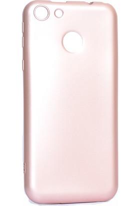 Happyshop Vestel Venüs E4 Kılıf Ultra İnce Mat Silikon Rose Gold + Cam Ekran Koruyucu