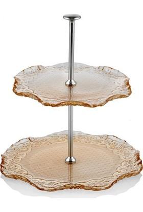 Cemile Dantel luster Amber 2 Katlı Servis 20-23 cm