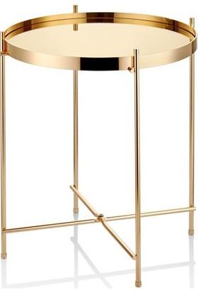 Cemile Gold Siyah Aynalı Tepsili Küçük Sehpa 42 x 42-52 cm