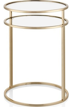 Cemile Gold Yuvarlak Sehpa 41 x 61 cm