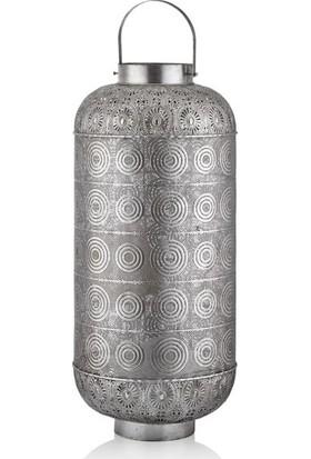 Cemile Antık Silver Silindir Büyük Fener 46 x 46 x 107 cm