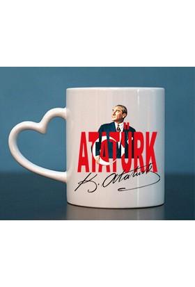 Başak Su Hediye Dükkanı Atatürk Kalp Kulp Beyaz Kupa Bardak