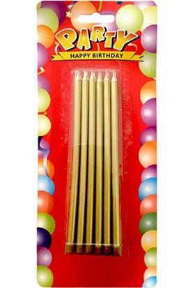Tahtakale Toptancısı Doğum Günü Pasta Mumu Yaldızlı Uzun 12 cm 12 Adet Gold