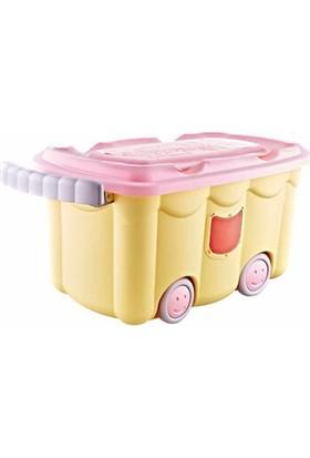 Bee Home Sarı Tekerlekli Oyuncak Kutusu 50 lt