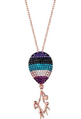Afrodit Silver Balon Uçuran Çocuk Tasarım Gümüş Kadın Kolye
