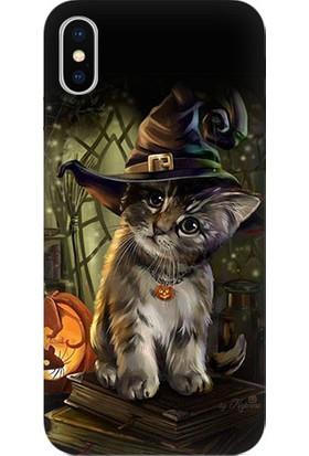 Teknomeg Apple iPhone X Cadılar Bayramı Ve Kedi Desenli Tasarım Silikon Kılıf