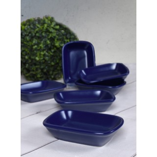 Keramika Mat Kobalt Çerezlik/Kayık Didörtgen 13 Cm 6 Adet