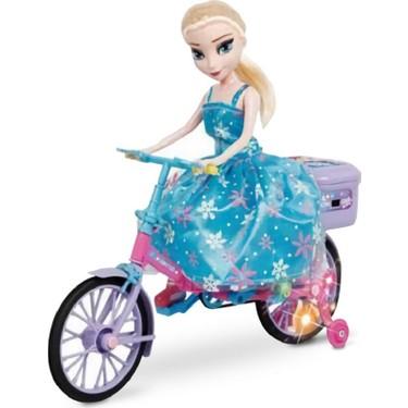 hyd frozen karlar ulkesi elsa bebek muzikli isikli bisikletli pilli elsa oyuncak bebek