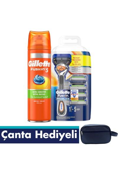 Gillette Fusion Proglide Makine + 5 Yedek Bıçakta Hediye + Fusion 5 Tıraş Jeli 200ml + Çanta
