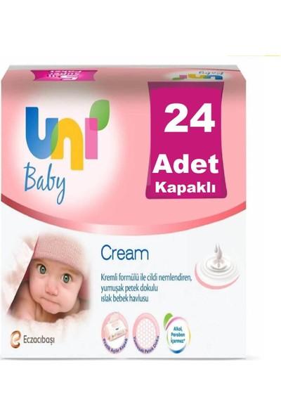 Uni Baby Cream Pişik için Kremli Islak Mendil - 24 lü Fırsat Paket