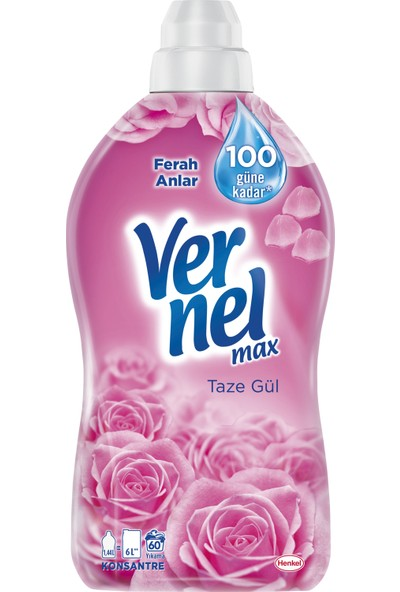 Vernel Max Konsantre Çamaşır Yumuşatıcısı Taze Gül 1440 ml 60 Yıkama