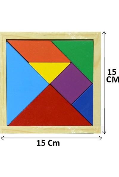 Yeşil Oyuncak Ahşap Eğitici Tangram 7 Parça Büyük Boy 15 x 15 cm 10 Adet
