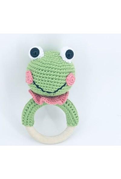 Aysun Yıldız Konbul Amigurumi Organik Diş Kaşıyıcılı Örgü Çıngırak Sevimli Kurbağa
